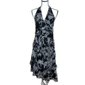 Blu Sage Black and Gray floral halter dress!